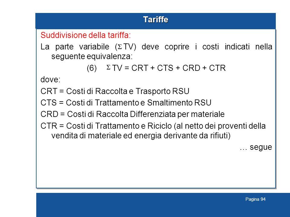 Pagina 94 Tariffe Suddivisione della tariffa: La parte variabile ( TV) deve coprire i costi indicati nella seguente equivalenza: (6) TV = CRT + CTS + CRD + CTR dove: CRT = Costi di Raccolta e Trasporto RSU CTS = Costi di Trattamento e Smaltimento RSU CRD = Costi di Raccolta Differenziata per materiale CTR = Costi di Trattamento e Riciclo (al netto dei proventi della vendita di materiale ed energia derivante da rifiuti) … segue