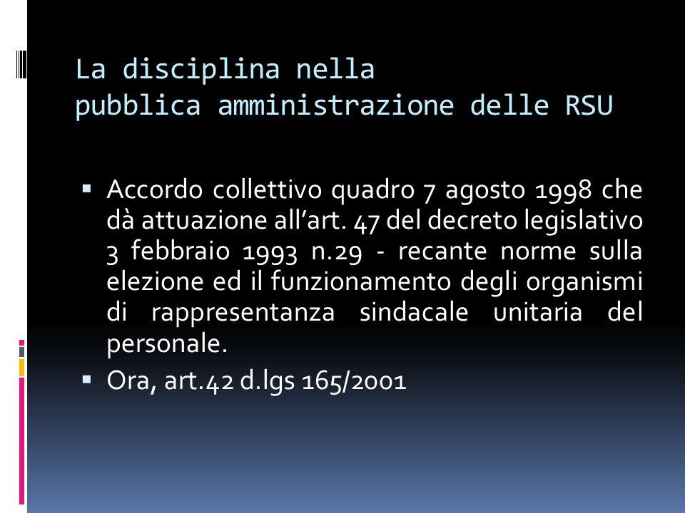 La disciplina nella pubblica amministrazione delle RSU  Accordo collettivo quadro 7 agosto 1998 che dà attuazione all'art.