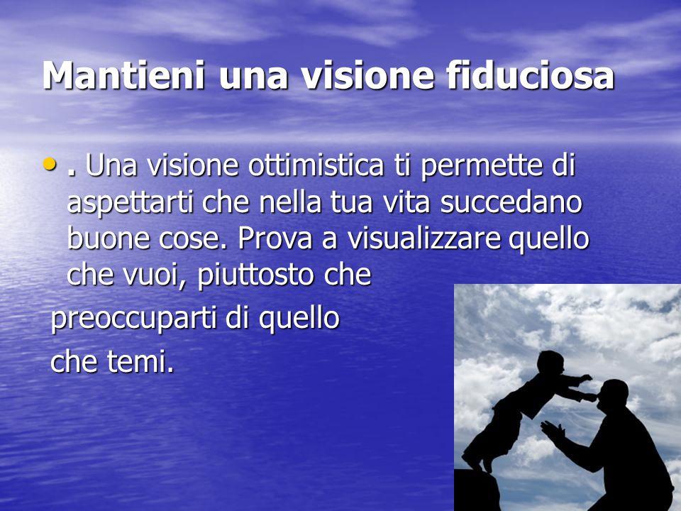 Mantieni una visione fiduciosa. Una visione ottimistica ti permette di aspettarti che nella tua vita succedano buone cose. Prova a visualizzare quello