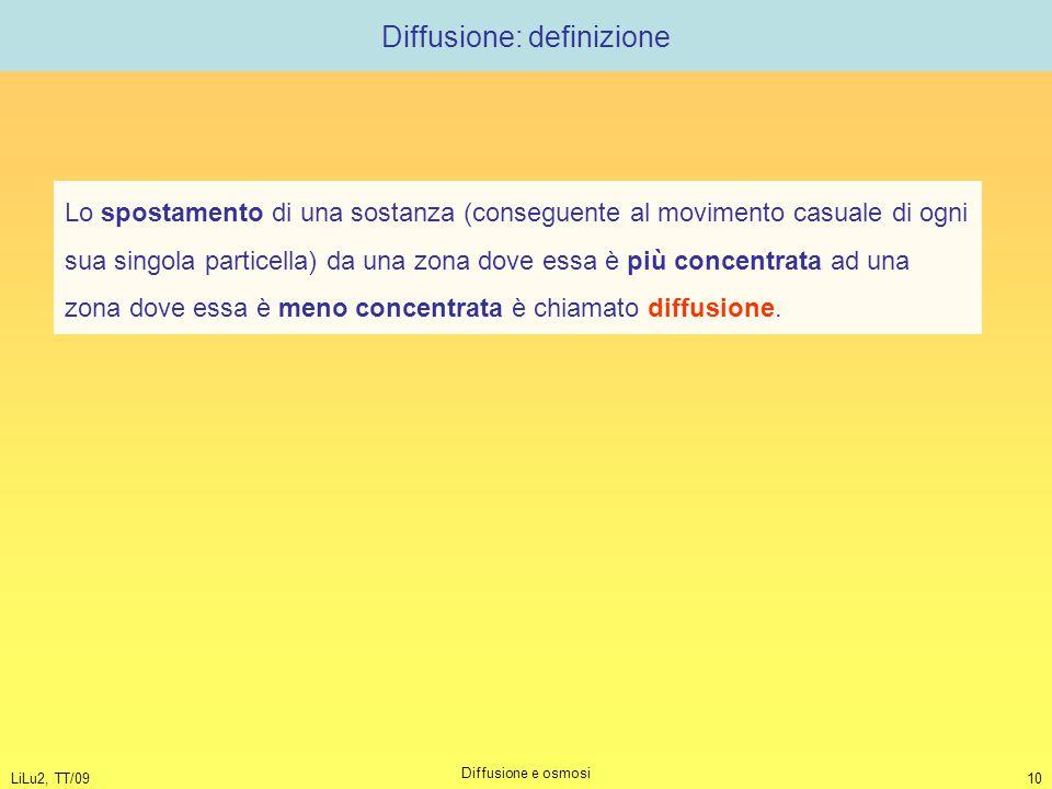 LiLu2, TT/09 Diffusione e osmosi 10 Diffusione: definizione Lo spostamento di una sostanza (conseguente al movimento casuale di ogni sua singola parti