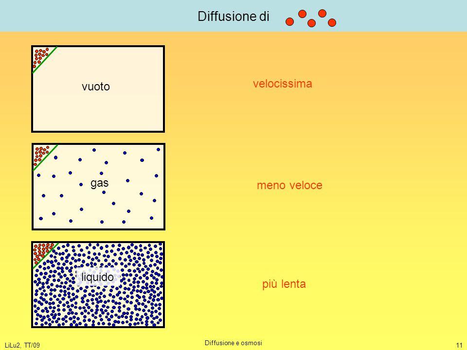 LiLu2, TT/09 Diffusione e osmosi 11 Diffusione di vuoto gas liquido velocissima meno veloce più lenta