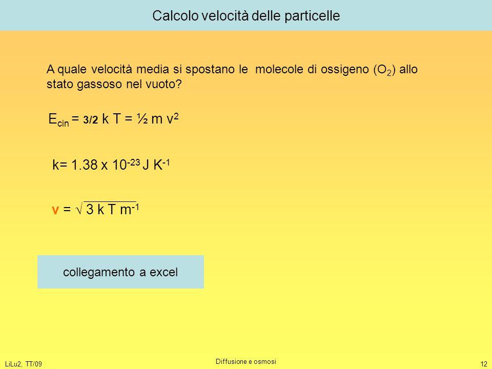 LiLu2, TT/09 Diffusione e osmosi 12 Calcolo velocità delle particelle A quale velocità media si spostano le molecole di ossigeno (O 2 ) allo stato gas