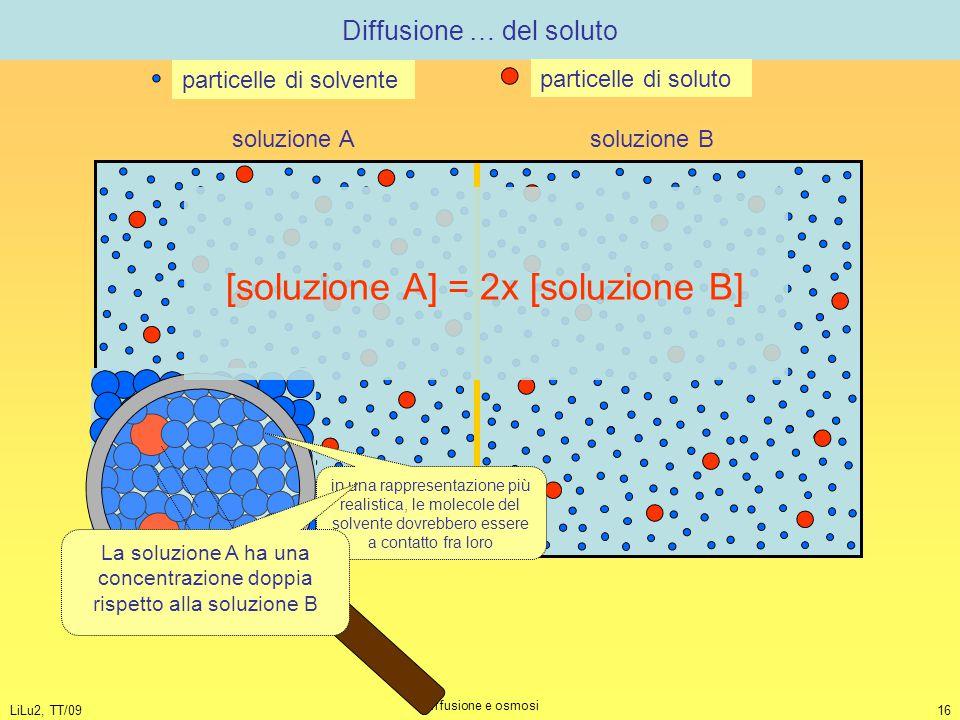 LiLu2, TT/09 Diffusione e osmosi 16 Diffusione … del soluto soluzione A soluzione B particelle di solvente particelle di soluto in una rappresentazion