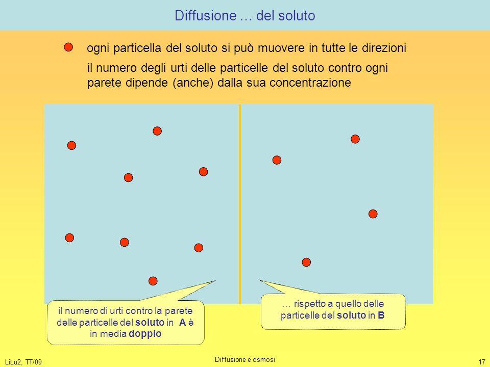 LiLu2, TT/09 Diffusione e osmosi 17 Diffusione … del soluto ogni particella del soluto si può muovere in tutte le direzioni il numero degli urti delle