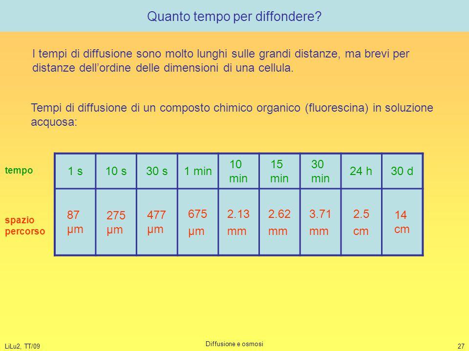 LiLu2, TT/09 Diffusione e osmosi 27 Quanto tempo per diffondere? Tempi di diffusione di un composto chimico organico (fluorescina) in soluzione acquos