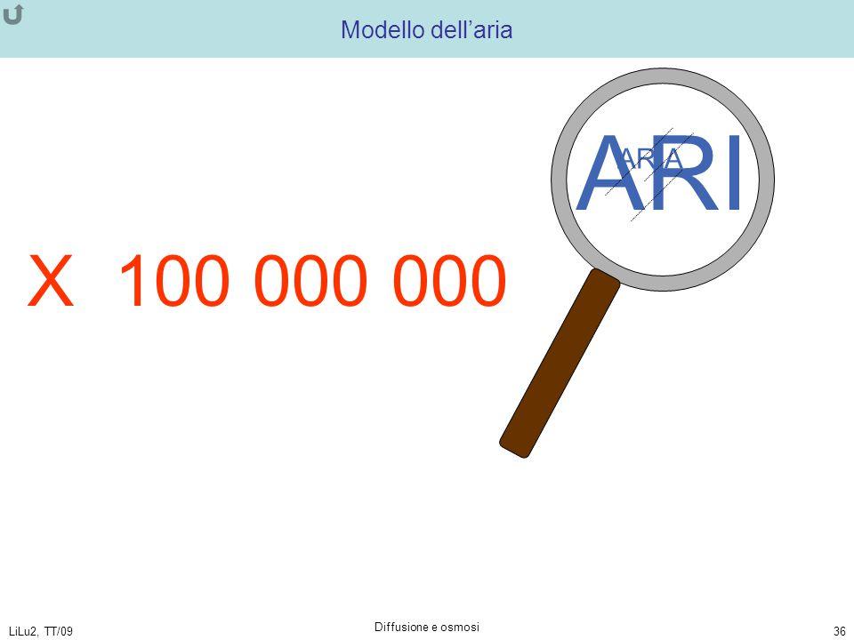 LiLu2, TT/09 Diffusione e osmosi 36 ARI ARIA Modello dell'aria X 100 000 000