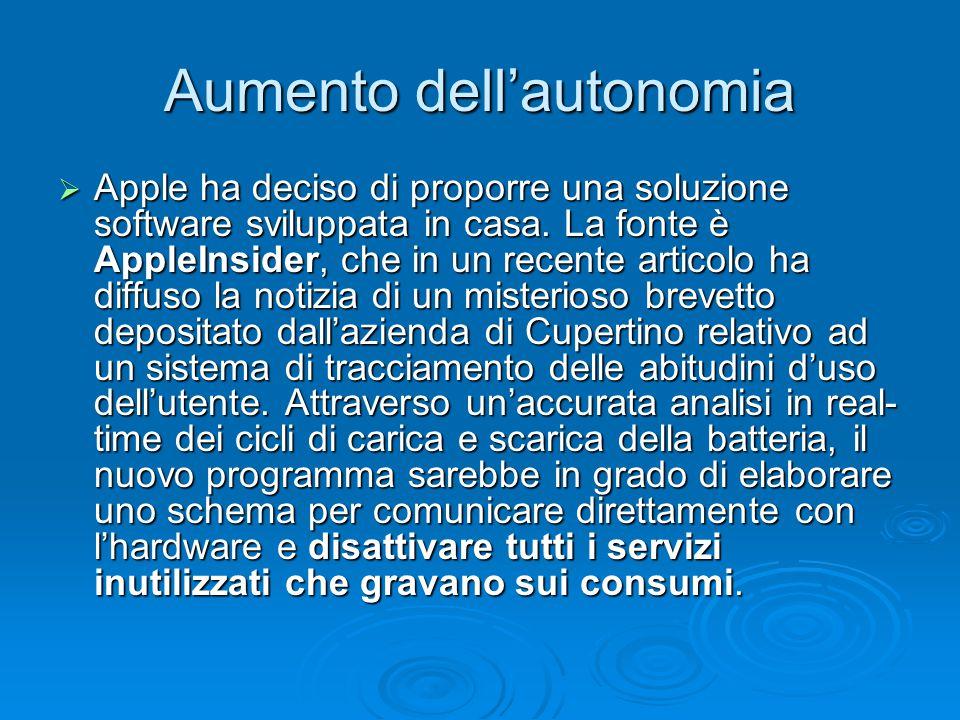 Aumento dell'autonomia  Apple ha deciso di proporre una soluzione software sviluppata in casa.