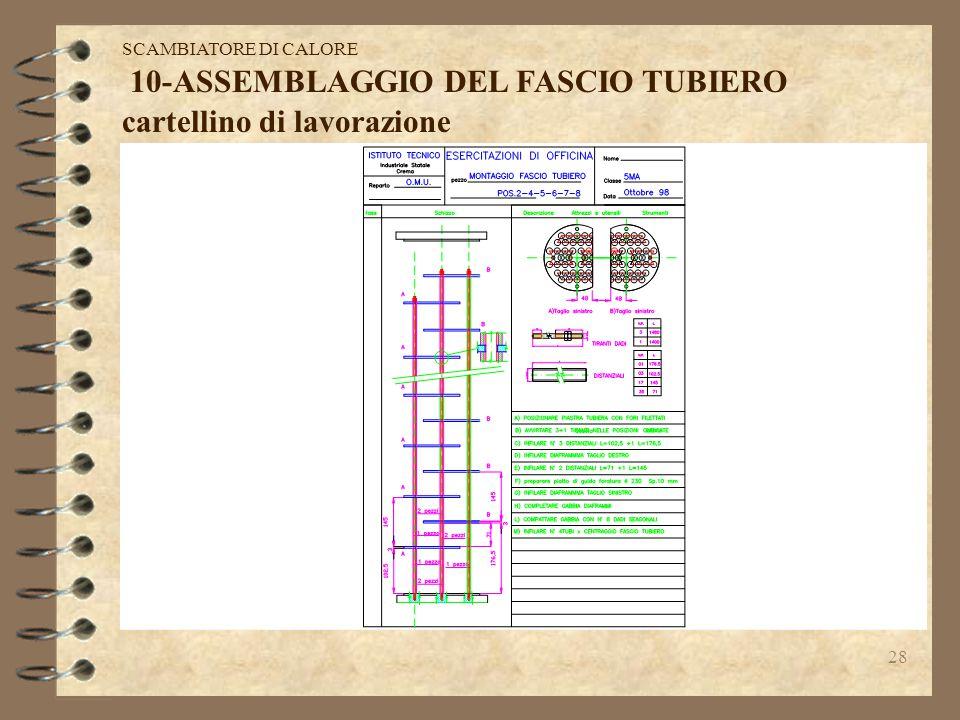 27 9-FASCIO TUBIERO:è composto dai tubi interni e dalla gabbia dei diaframmi bloccati tra di loro dai tiranti e dai distanziali. SCAMBIATORE DI CALORE