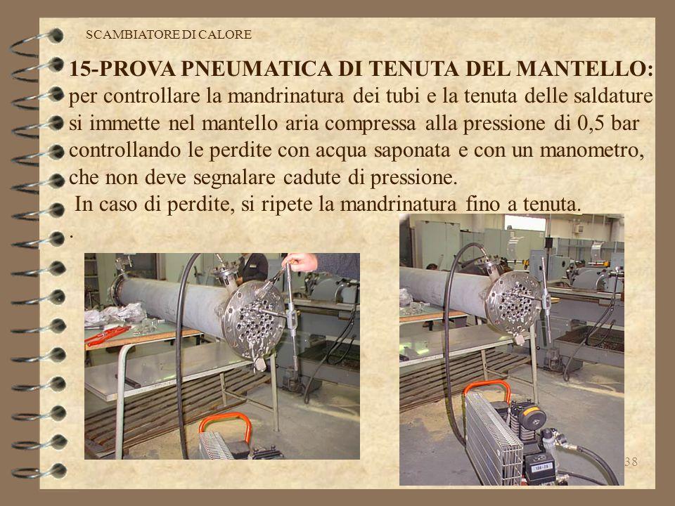 37 14-MANDRINATURA DEI TUBI: per evitare il trafilaggio dei liquidi dal mantello ai tubi e viceversa,si esegue la mandrinatura di tenuta,che consiste