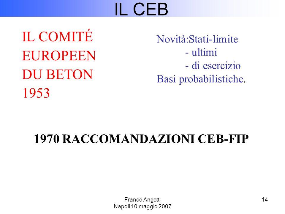 Franco Angotti Napoli 10 maggio 2007 14 IL CEB Novità:Stati-limite - ultimi - di esercizio Basi probabilistiche.