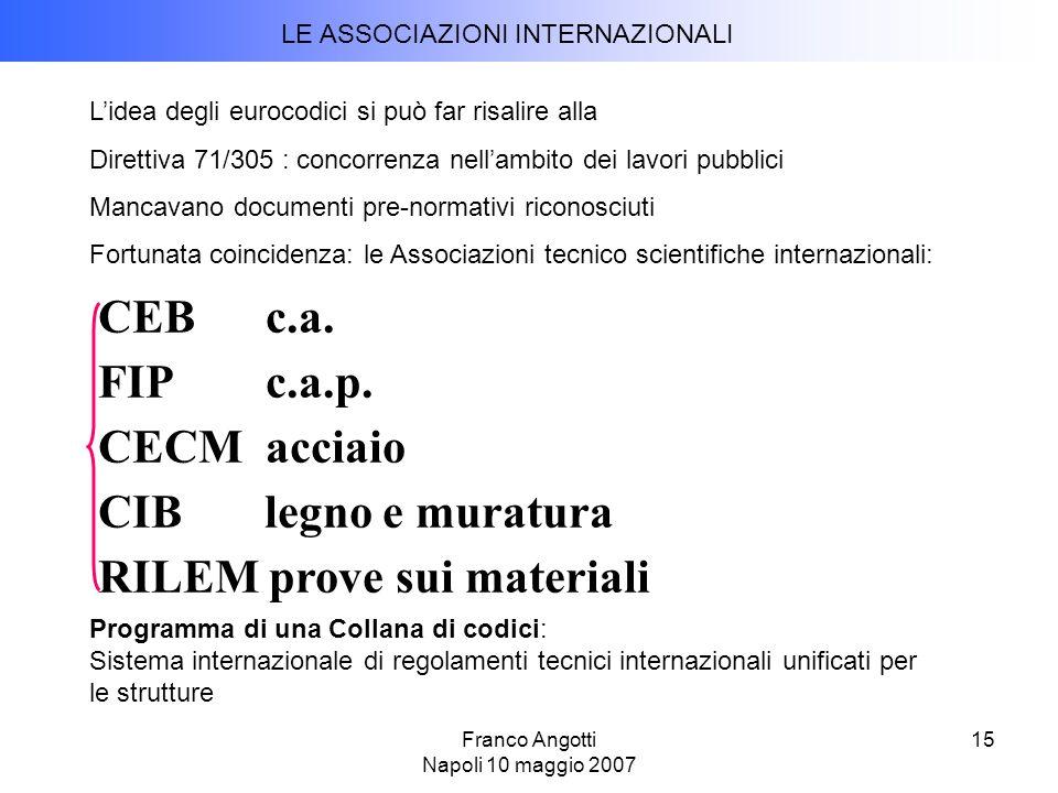 Franco Angotti Napoli 10 maggio 2007 15 CEB c.a.FIP c.a.p.