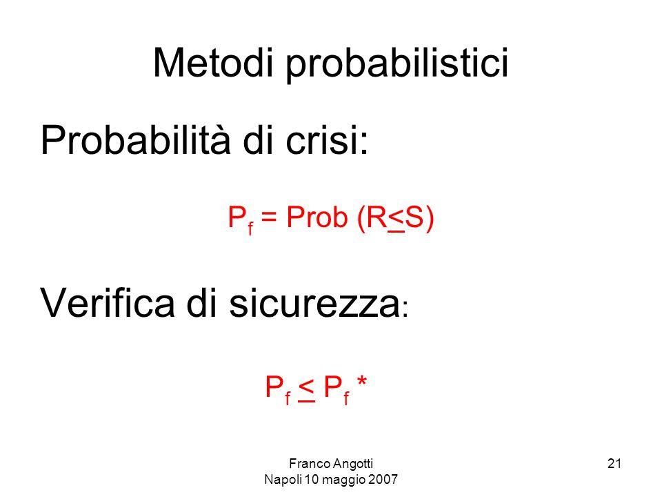 Franco Angotti Napoli 10 maggio 2007 21 Metodi probabilistici Probabilità di crisi: P f = Prob (R<S) Verifica di sicurezza : P f < P f *