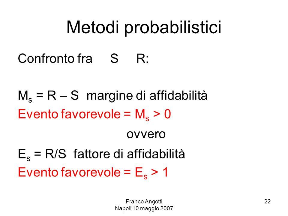 Franco Angotti Napoli 10 maggio 2007 22 Metodi probabilistici Confronto fra S R: M s = R – S margine di affidabilità Evento favorevole = M s > 0 ovvero E s = R/S fattore di affidabilità Evento favorevole = E s > 1