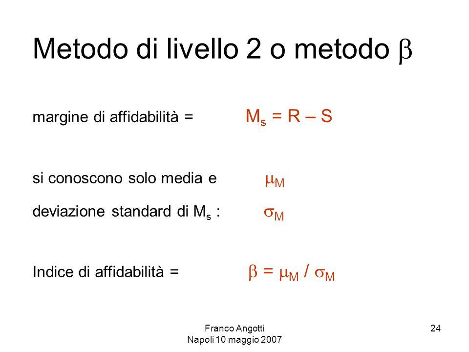 Franco Angotti Napoli 10 maggio 2007 24 Metodo di livello 2 o metodo  margine di affidabilità = M s = R – S si conoscono solo media e  M deviazione standard di M s :  M Indice di affidabilità =  =  M /  M