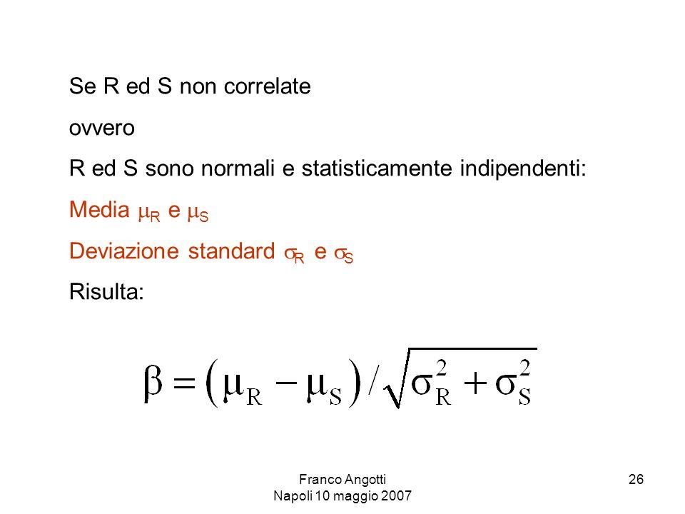Franco Angotti Napoli 10 maggio 2007 26 Se R ed S non correlate ovvero R ed S sono normali e statisticamente indipendenti: Media  R e  S Deviazione standard  R e  S Risulta: