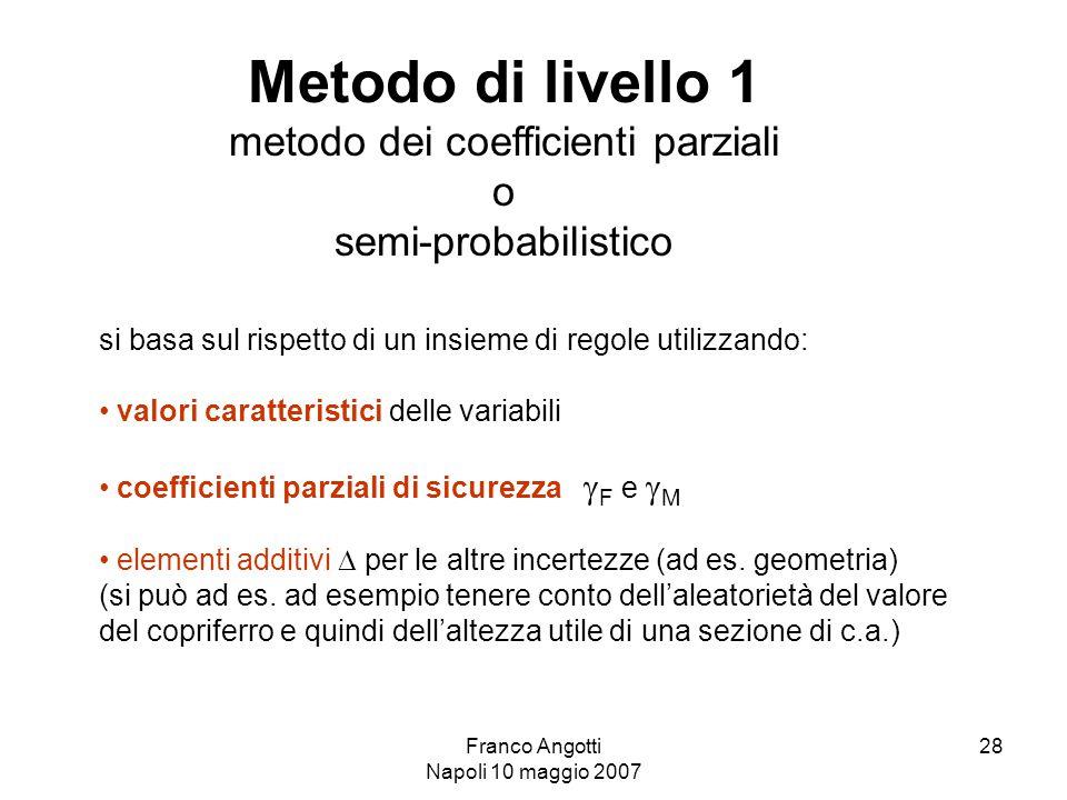 Franco Angotti Napoli 10 maggio 2007 28 si basa sul rispetto di un insieme di regole utilizzando: valori caratteristici delle variabili coefficienti parziali di sicurezza  F e  M elementi additivi  per le altre incertezze (ad es.