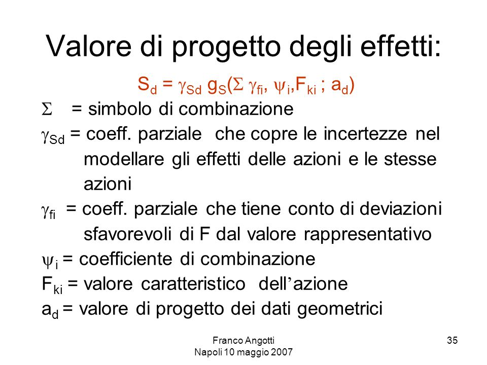 Franco Angotti Napoli 10 maggio 2007 35 Valore di progetto degli effetti: S d =  Sd g S (   fi,  i,F ki ; a d )  = simbolo di combinazione  Sd = coeff.