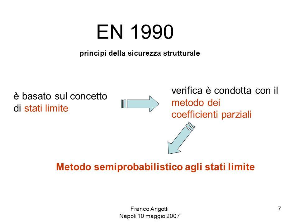 Franco Angotti Napoli 10 maggio 2007 7 EN 1990 principi della sicurezza strutturale è basato sul concetto di stati limite verifica è condotta con il metodo dei coefficienti parziali Metodo semiprobabilistico agli stati limite