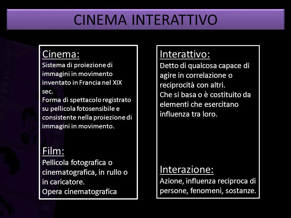 CINEMA INTERATTIVO Cinema: Sistema di proiezione di immagini in movimento inventato in Francia nel XIX sec. Forma di spettacolo registrato su pellicol