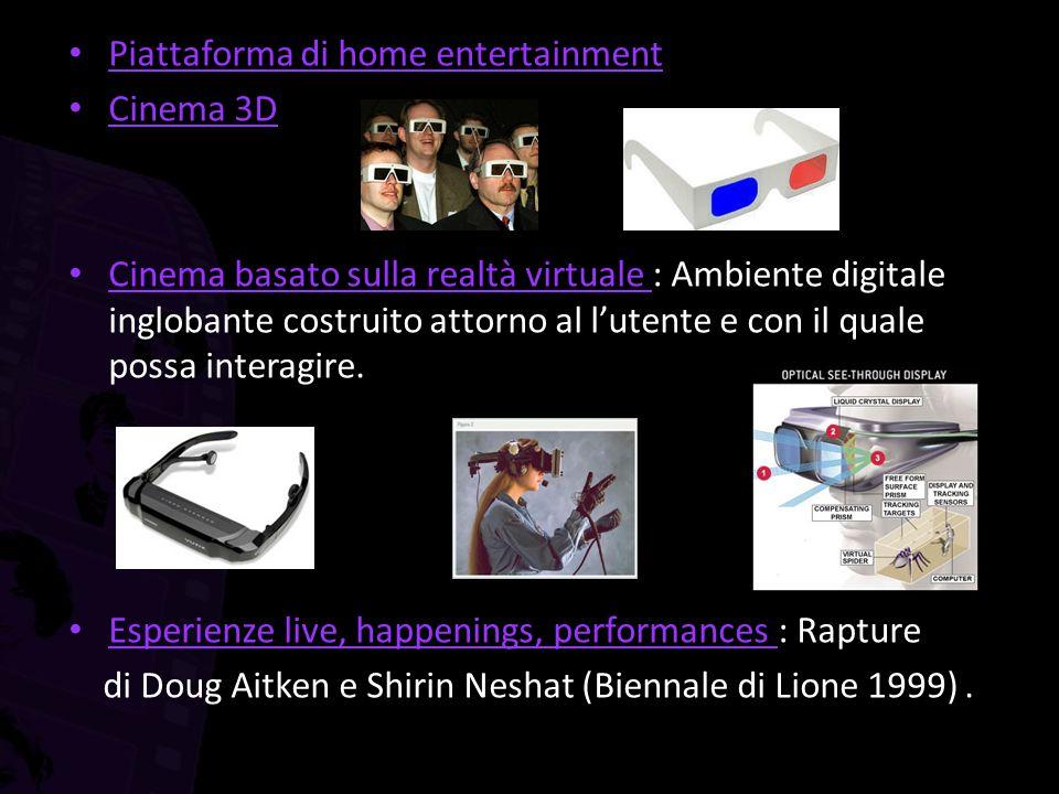 Piattaforma di home entertainment Cinema 3D Cinema basato sulla realtà virtuale : Ambiente digitale inglobante costruito attorno al l'utente e con il