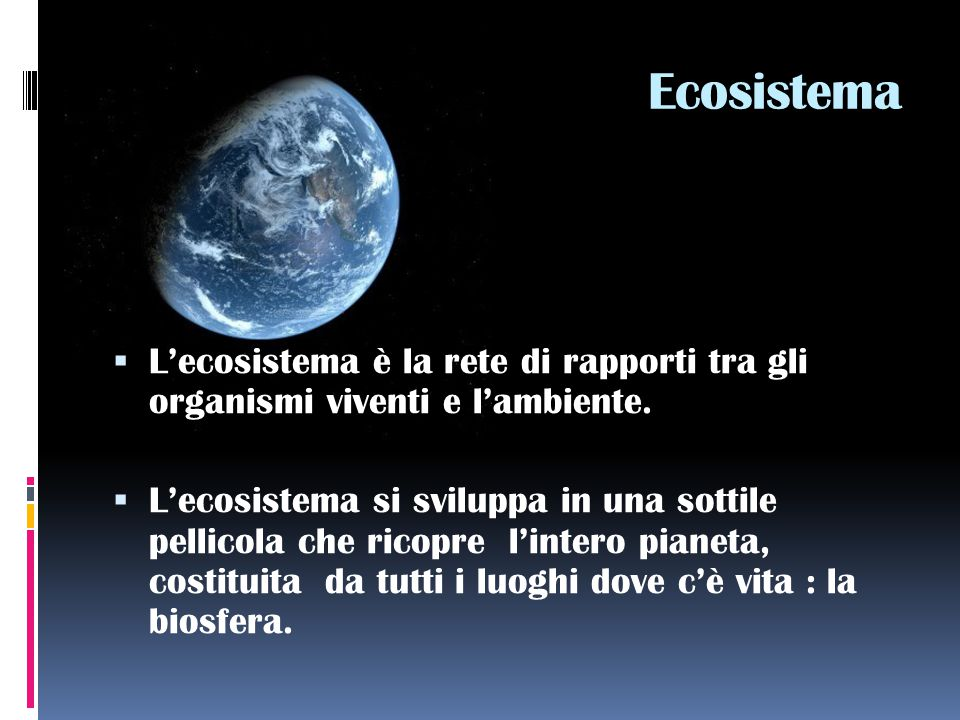 Ecosistema  L'ecosistema è la rete di rapporti tra gli organismi viventi e l'ambiente.