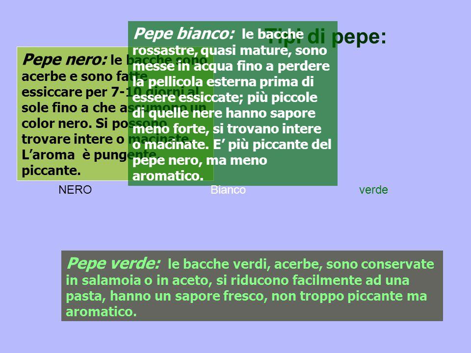 Tipi di pepe: Pepe nero: le bacche sono acerbe e sono fatte essiccare per 7-10 giorni al sole fino a che assumono un color nero.