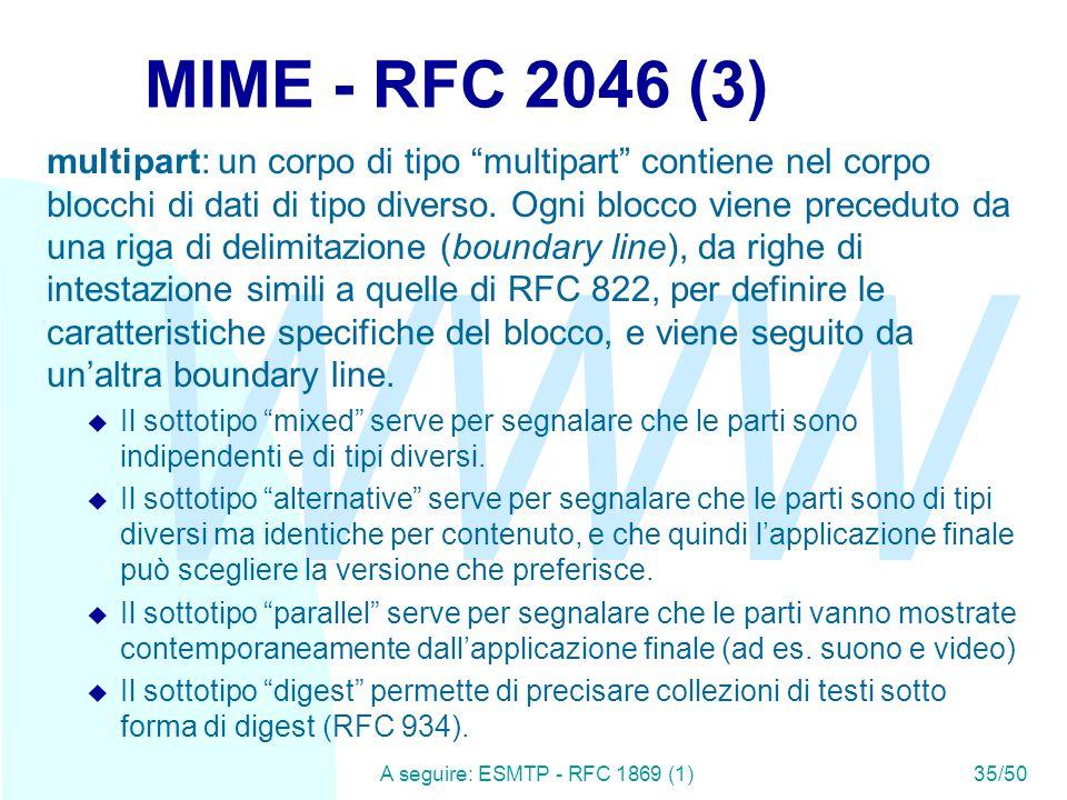 WWW A seguire: ESMTP - RFC 1869 (1)35/50 MIME - RFC 2046 (3) multipart: un corpo di tipo multipart contiene nel corpo blocchi di dati di tipo diverso.