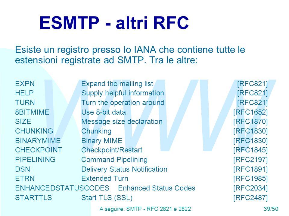 WWW A seguire: SMTP - RFC 2821 e 282239/50 ESMTP - altri RFC Esiste un registro presso lo IANA che contiene tutte le estensioni registrate ad SMTP.