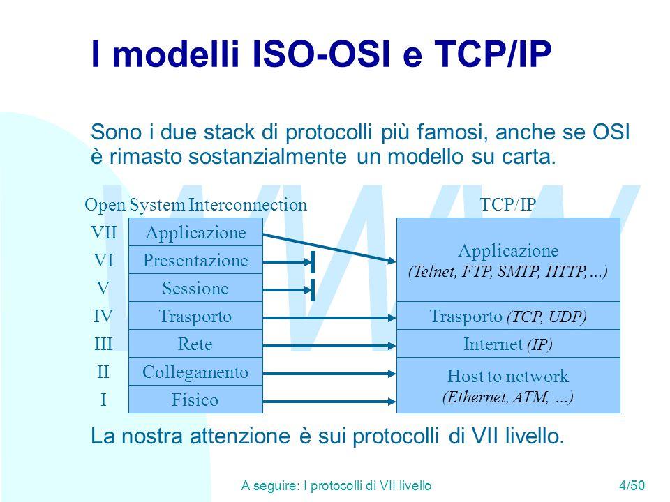 WWW A seguire: End-to-End argument (1)5/50 I protocolli di VII livello n Al VII livello esistono i protocolli di applicazione, che svolgono un lavoro direttamente utile alle applicazioni utente n Anche al VII livello dobbiamo distinguere tra u Protocolli di applicazione vera e propria: forniscono il servizio agli utenti finali (SMTP, NNTP, HTTP, telnet, FTP, ecc.) u Protocolli di servizio: forniscono servizi non direttamente agli utenti, ma alle applicazioni utente (SNMP, DNS, ecc.) n Ovviamente i protocolli di servizio non costituiscono un livello a sé, poiché non sono frapposti tra il protocollo di applicazione e il protocollo di trasporto.