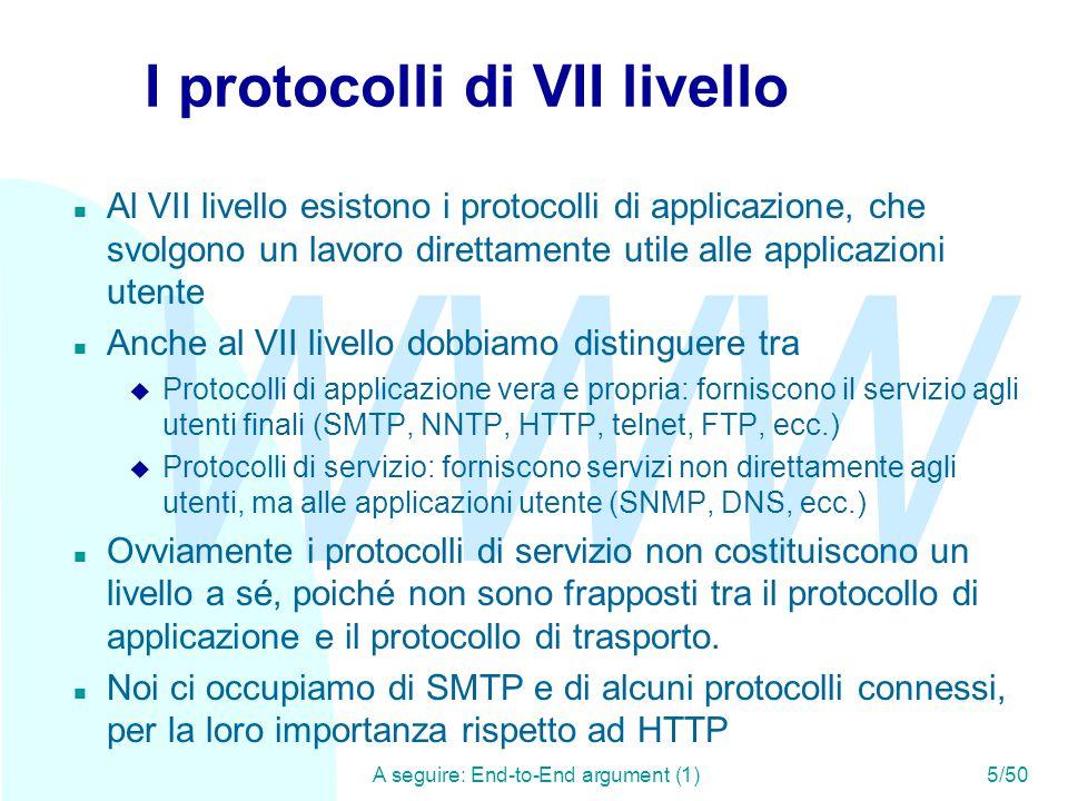 WWW A seguire: ESMTP - RFC 1869 (2)36/50 ESMTP - RFC 1869 (1) n SMTP è uno dei protocolli più robusti e utilizzati su Internet.