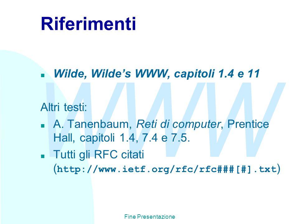 WWW Fine Presentazione Riferimenti n Wilde, Wilde's WWW, capitoli 1.4 e 11 Altri testi: n A.