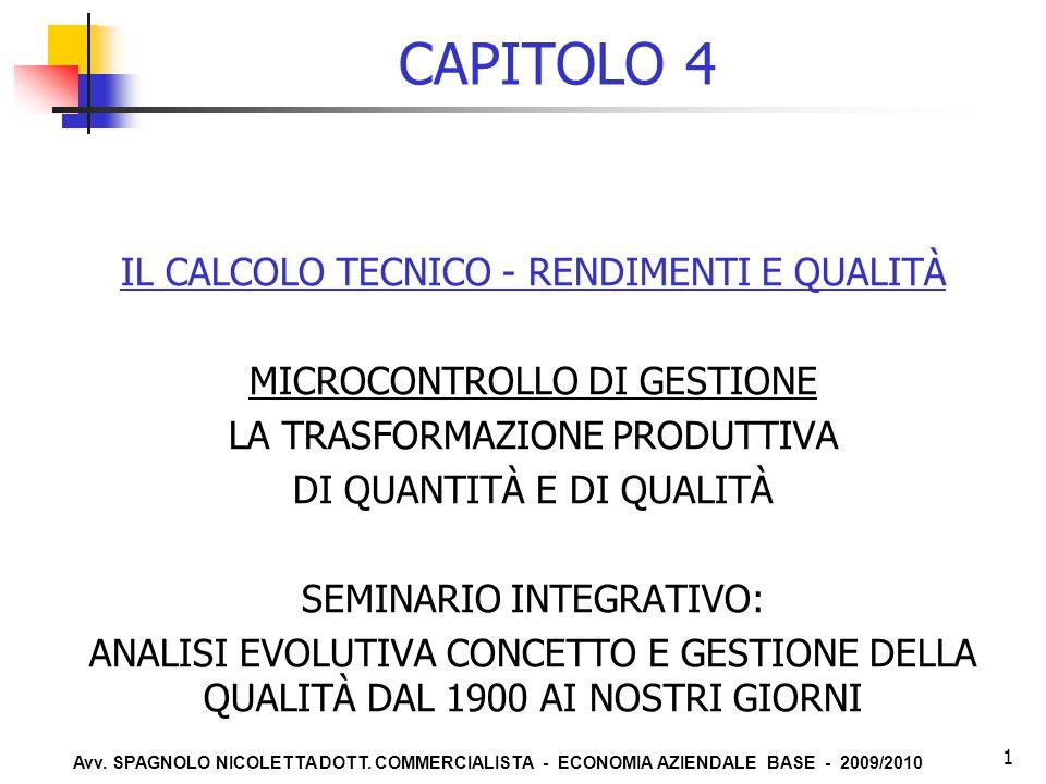 Avv. SPAGNOLO NICOLETTA DOTT. COMMERCIALISTA - ECONOMIA AZIENDALE BASE - 2009/2010 1 CAPITOLO 4 IL CALCOLO TECNICO - RENDIMENTI E QUALITÀ MICROCONTROL