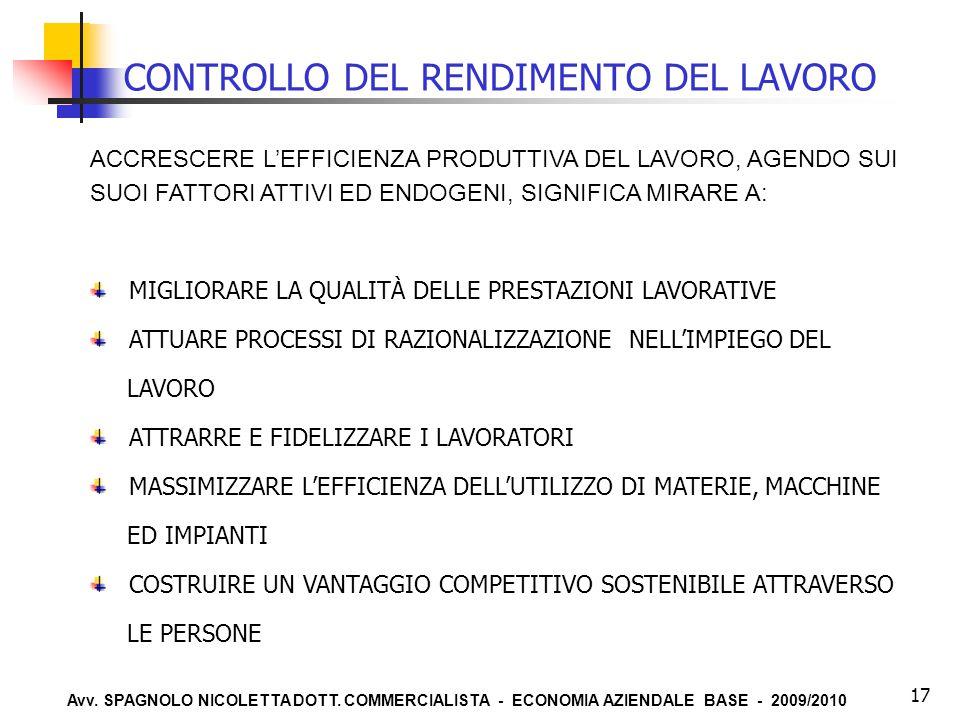 Avv. SPAGNOLO NICOLETTA DOTT. COMMERCIALISTA - ECONOMIA AZIENDALE BASE - 2009/2010 17 CONTROLLO DEL RENDIMENTO DEL LAVORO ACCRESCERE L'EFFICIENZA PROD