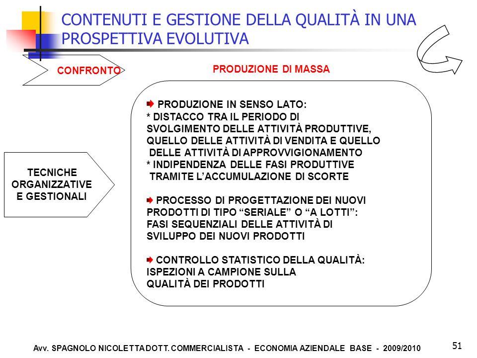 Avv. SPAGNOLO NICOLETTA DOTT. COMMERCIALISTA - ECONOMIA AZIENDALE BASE - 2009/2010 51 CONTENUTI E GESTIONE DELLA QUALITÀ IN UNA PROSPETTIVA EVOLUTIVA