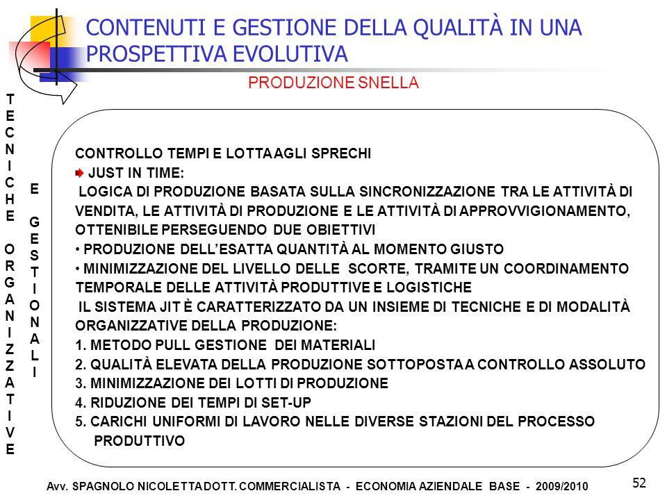 Avv. SPAGNOLO NICOLETTA DOTT. COMMERCIALISTA - ECONOMIA AZIENDALE BASE - 2009/2010 52 CONTENUTI E GESTIONE DELLA QUALITÀ IN UNA PROSPETTIVA EVOLUTIVA