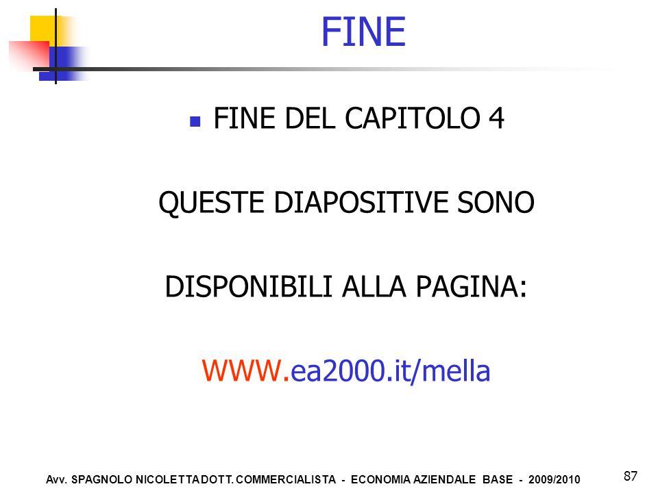 Avv. SPAGNOLO NICOLETTA DOTT. COMMERCIALISTA - ECONOMIA AZIENDALE BASE - 2009/2010 87 FINE FINE DEL CAPITOLO 4 QUESTE DIAPOSITIVE SONO DISPONIBILI ALL