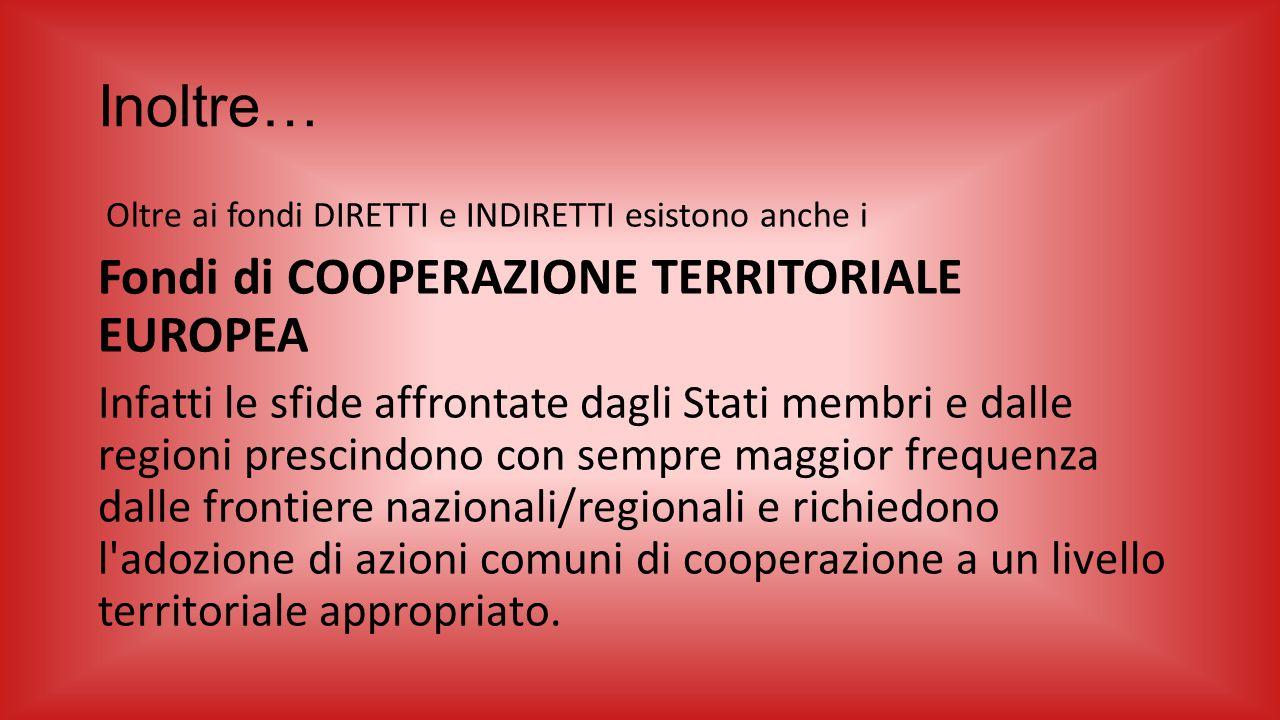 Inoltre… Oltre ai fondi DIRETTI e INDIRETTI esistono anche i Fondi di COOPERAZIONE TERRITORIALE EUROPEA Infatti le sfide affrontate dagli Stati membri