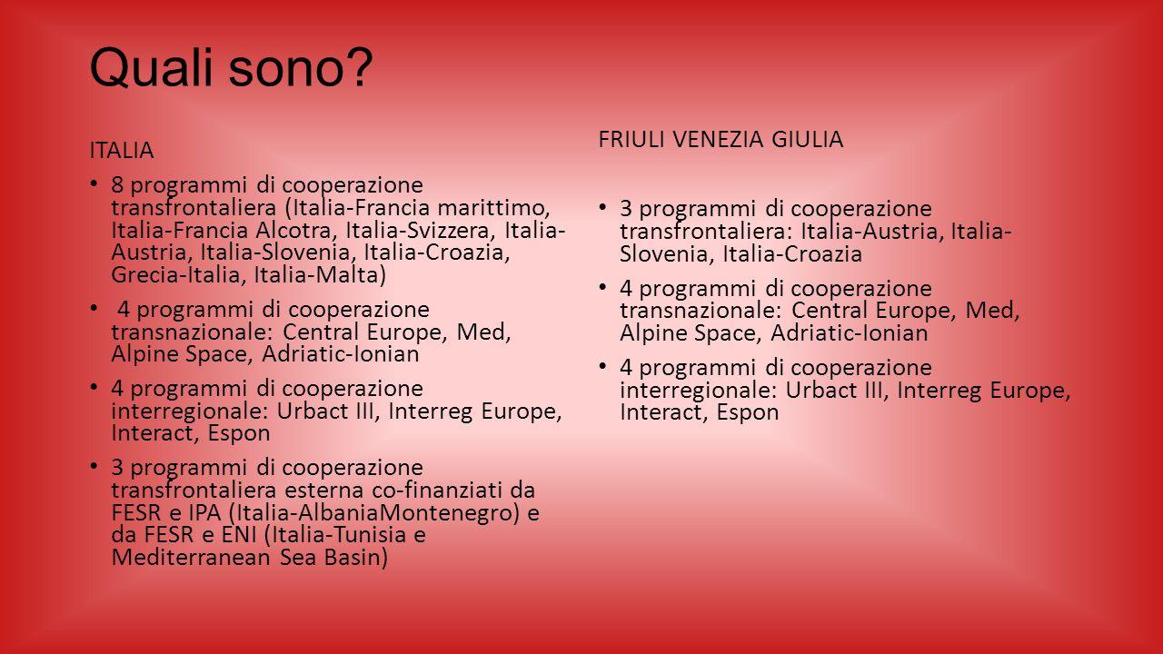 Quali sono? ITALIA 8 programmi di cooperazione transfrontaliera (Italia-Francia marittimo, Italia-Francia Alcotra, Italia-Svizzera, Italia- Austria, I
