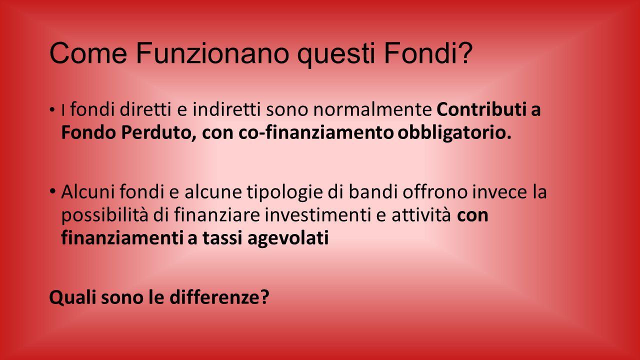 Come Funzionano questi Fondi? I fondi diretti e indiretti sono normalmente Contributi a Fondo Perduto, con co-finanziamento obbligatorio. Alcuni fondi