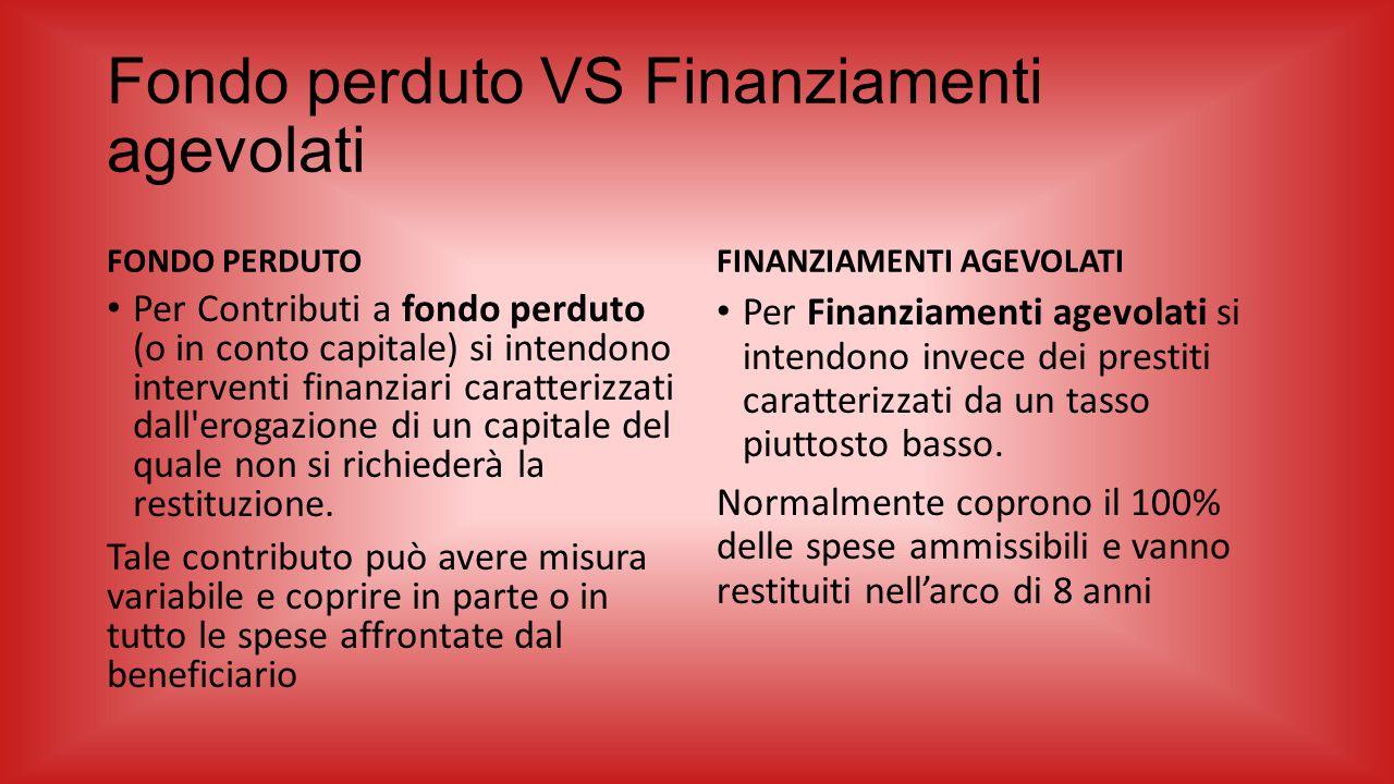 Fondo perduto VS Finanziamenti agevolati FONDO PERDUTO Per Contributi a fondo perduto (o in conto capitale) si intendono interventi finanziari caratte