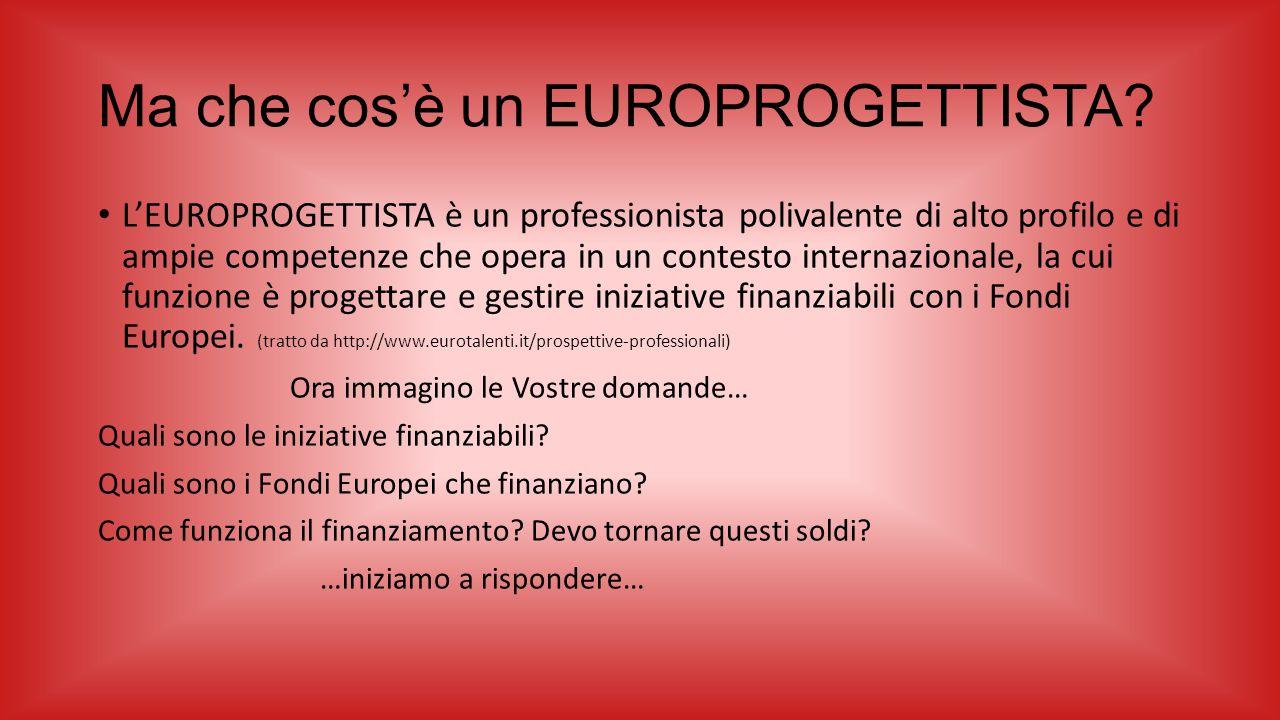 Ma che cos'è un EUROPROGETTISTA? L'EUROPROGETTISTA è un professionista polivalente di alto profilo e di ampie competenze che opera in un contesto inte