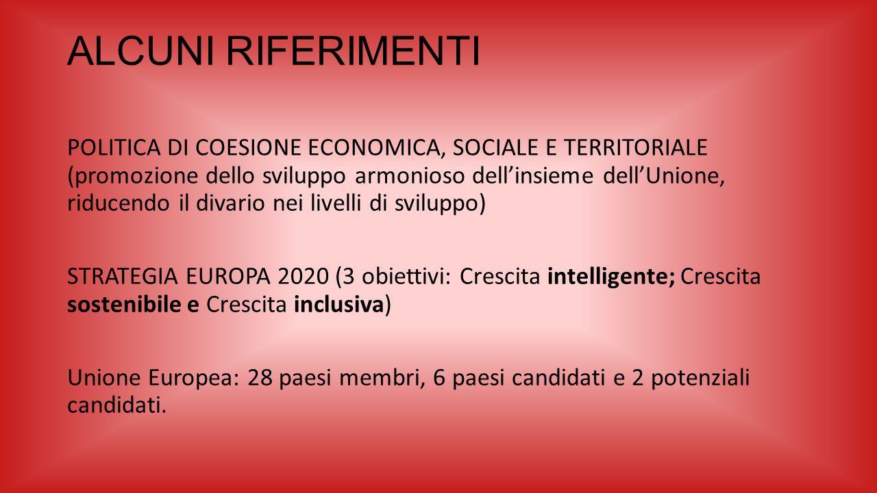 ALCUNI RIFERIMENTI POLITICA DI COESIONE ECONOMICA, SOCIALE E TERRITORIALE (promozione dello sviluppo armonioso dell'insieme dell'Unione, riducendo il