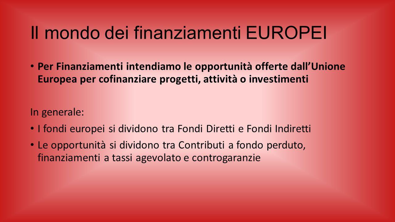 Il mondo dei finanziamenti EUROPEI Per Finanziamenti intendiamo le opportunità offerte dall'Unione Europea per cofinanziare progetti, attività o inves