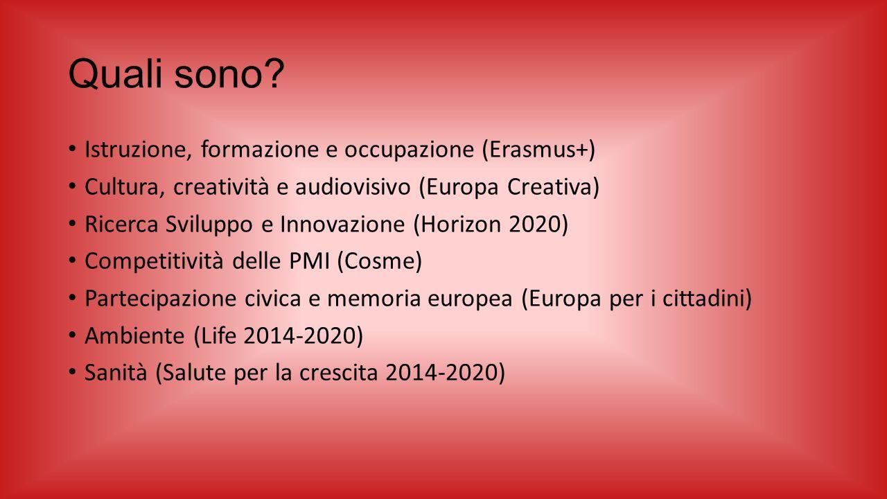 Quali sono? Istruzione, formazione e occupazione (Erasmus+) Cultura, creatività e audiovisivo (Europa Creativa) Ricerca Sviluppo e Innovazione (Horizo