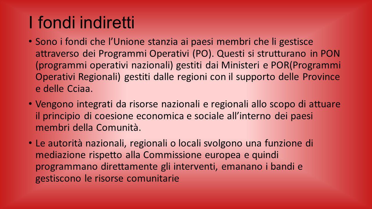 I fondi indiretti Sono i fondi che l'Unione stanzia ai paesi membri che li gestisce attraverso dei Programmi Operativi (PO). Questi si strutturano in
