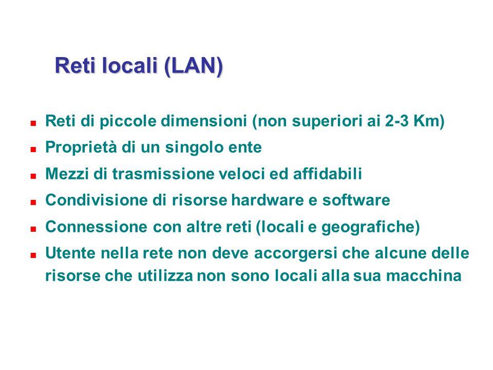 Reti locali (LAN) Reti di piccole dimensioni (non superiori ai 2-3 Km) Proprietà di un singolo ente Mezzi di trasmissione veloci ed affidabili Condivi