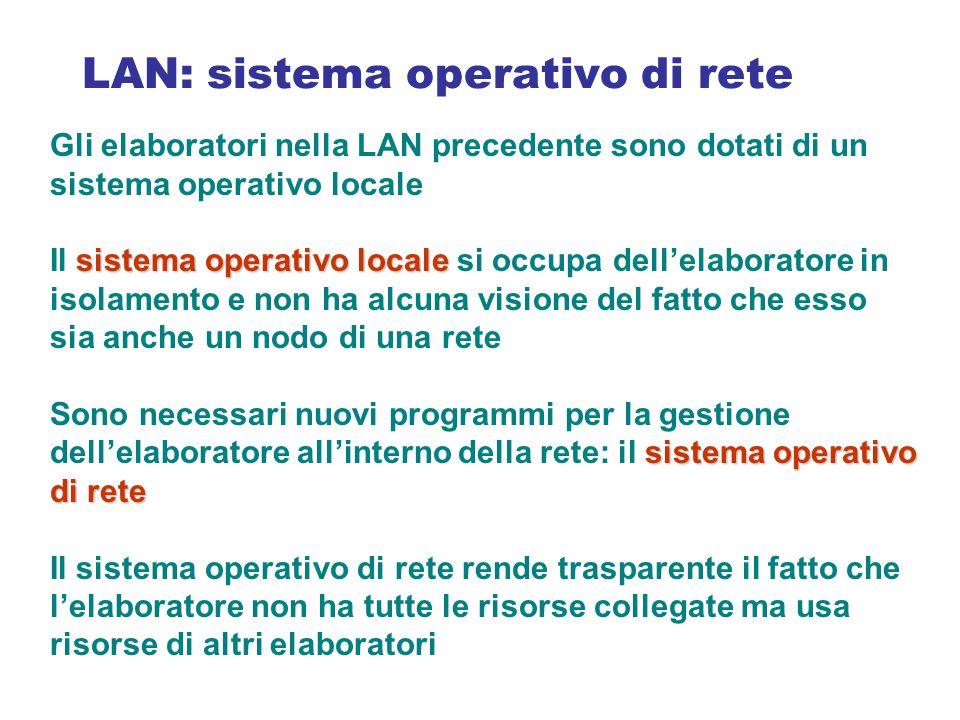 Gli elaboratori nella LAN precedente sono dotati di un sistema operativo locale sistema operativo locale Il sistema operativo locale si occupa dell'el