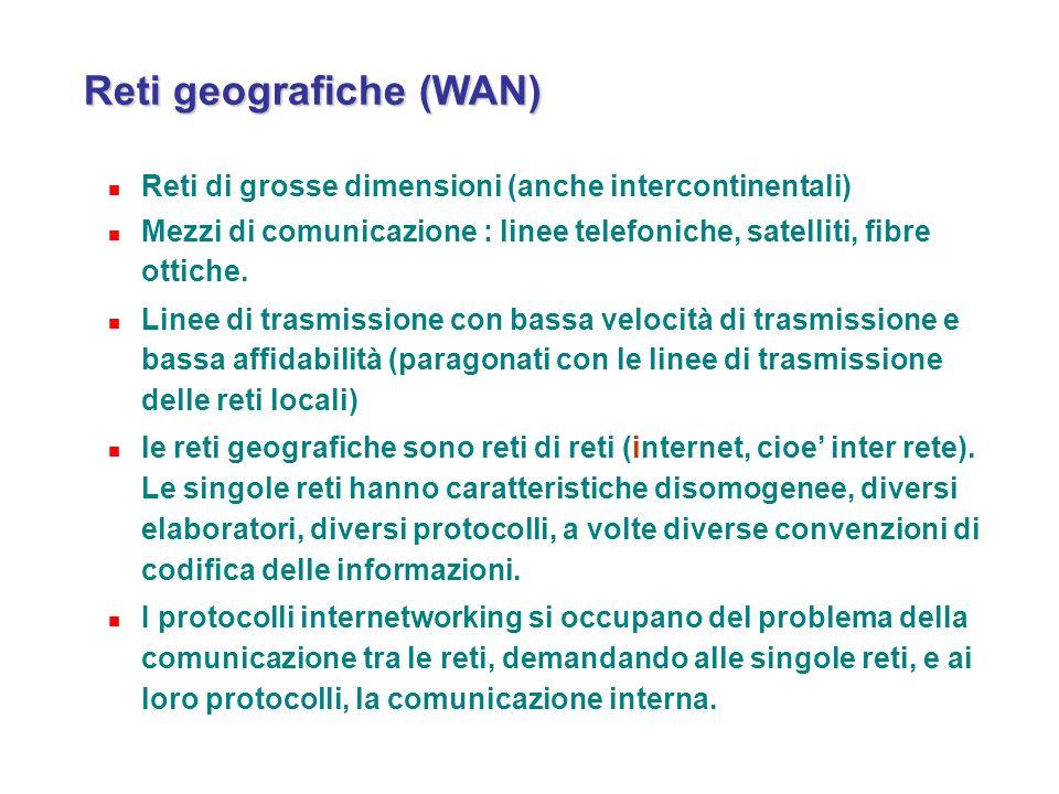 Reti geografiche (WAN) Reti geografiche (WAN) Reti di grosse dimensioni (anche intercontinentali) Mezzi di comunicazione : linee telefoniche, satellit