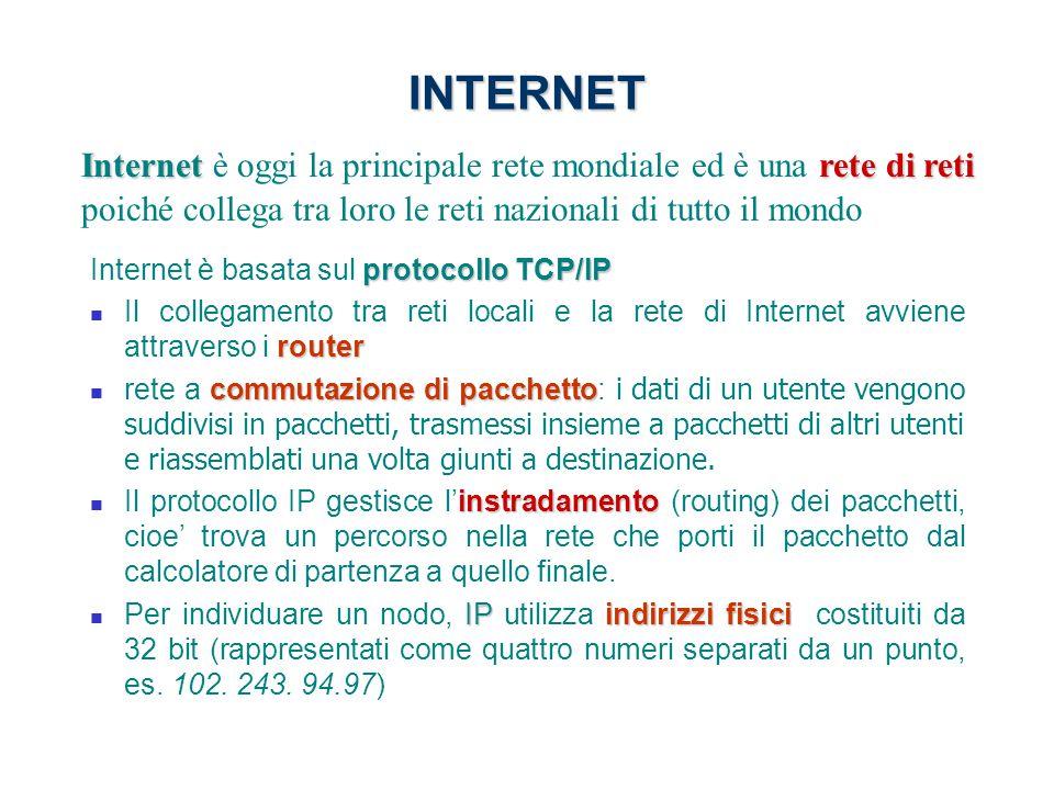 INTERNET protocollo TCP/IP Internet è basata sul protocollo TCP/IP router Il collegamento tra reti locali e la rete di Internet avviene attraverso i r