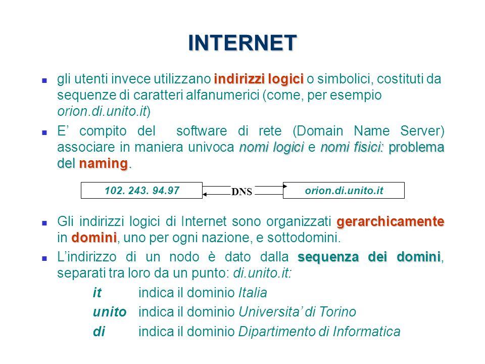INTERNET indirizzi logici gli utenti invece utilizzano indirizzi logici o simbolici, costituti da sequenze di caratteri alfanumerici (come, per esempi